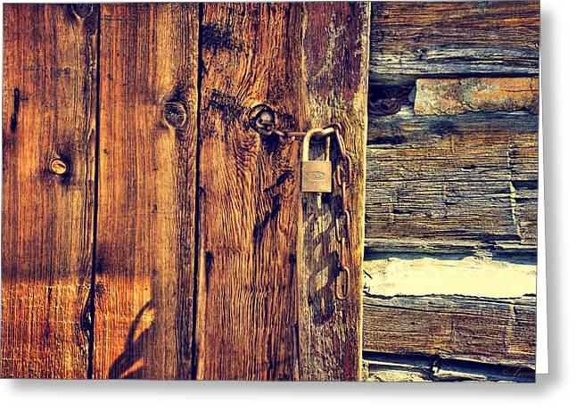 Safeguard Greeting Cards - Old Wooden Door Greeting Card by Maria Angelica Maira