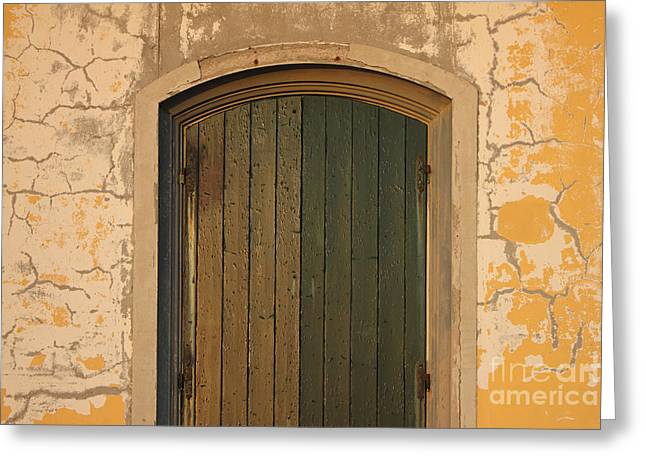 Wooden Antique Building Greeting Cards - Old Wooden door with cracks on the wall Greeting Card by Kiril Stanchev
