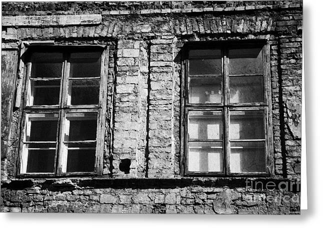 Old Jewish Area Greeting Cards - Old Wooden Double Layer Glazing In Old Red Brick Building With Plaster Facade Removed For Renovation Kazimierz Krakow Greeting Card by Joe Fox