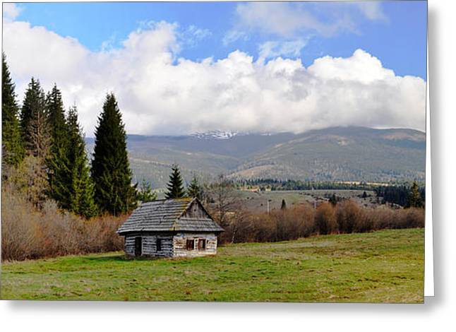 Log Cabins Photographs Greeting Cards - Old Wooden Home On A Mountain, Slovakia Greeting Card by Panoramic Images