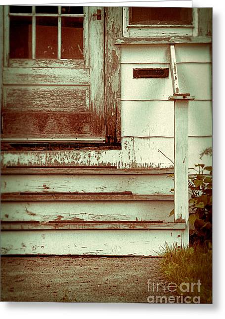 Weatherboard Greeting Cards - Old Wooden Porch Greeting Card by Jill Battaglia