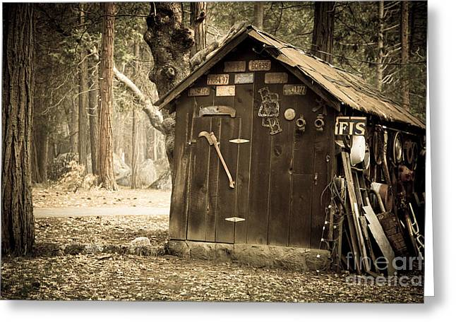 Country Shed Greeting Cards - Old wooden shed Yosemite Greeting Card by Jane Rix