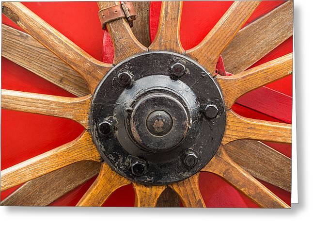 Old Wooden Spoke Wheel Greeting Card by Matthias Hauser