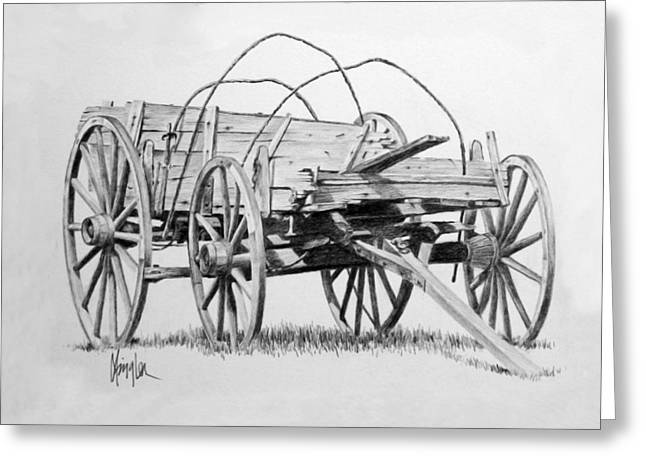 Wagon Wheels Drawings Greeting Cards - Old Wooden Wagon Greeting Card by Gaylon Dingler