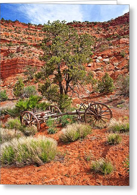 Old Wooden Wagon In Desert Greeting Card by Susan Schmitz