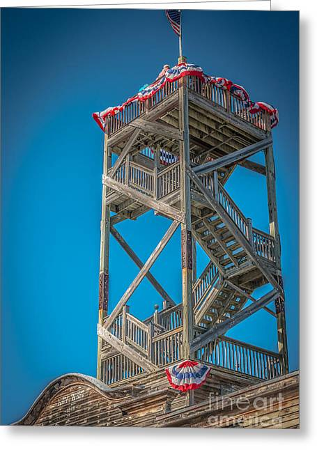 Patriot Photography Greeting Cards - Old Wooden Watchtower Key West - HDR Style Greeting Card by Ian Monk