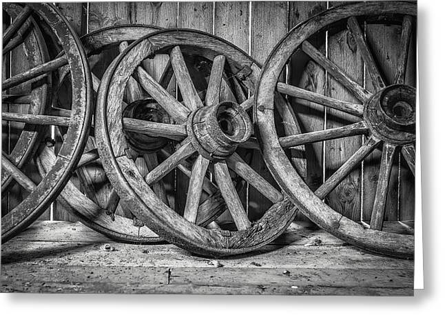 Wagon Wheels Photographs Greeting Cards - Old Wooden Wheels Greeting Card by Erik Brede