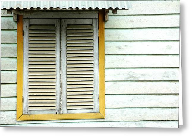 Wooden Building Greeting Cards - Old Wooden Window Greeting Card by Antoni Halim