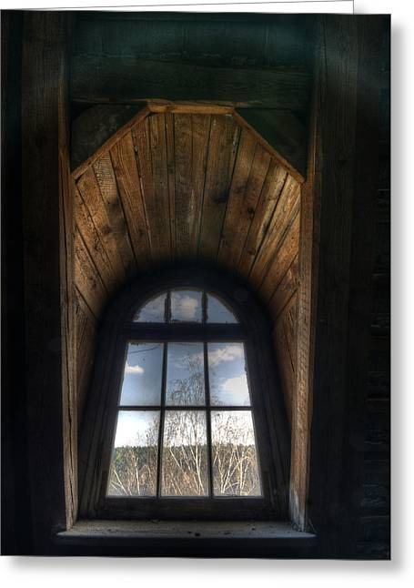 Barrack Digital Greeting Cards - Old wooden window Greeting Card by Nathan Wright