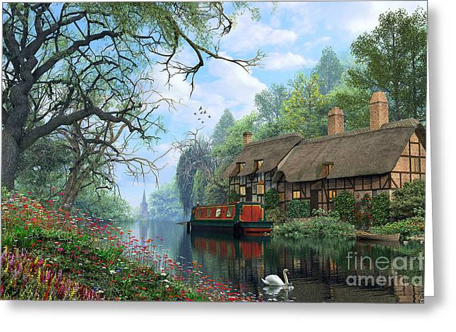 Swans... Greeting Cards - Old Woodland Canal Greeting Card by Dominic Davison