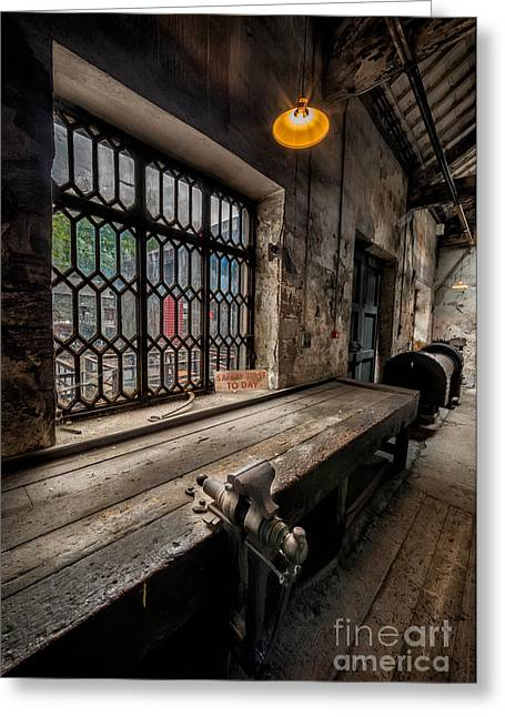 Window Panes Greeting Cards - Old Workshop Greeting Card by Adrian Evans