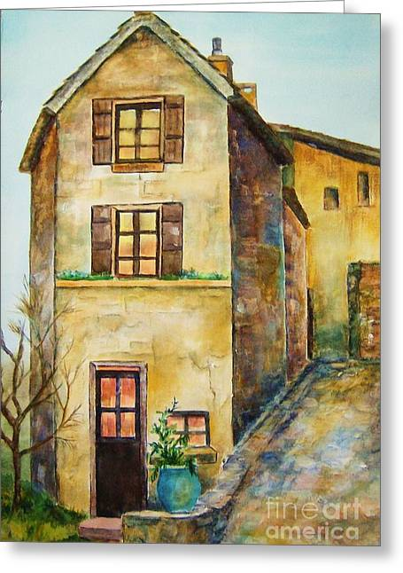 Europe Mixed Media Greeting Cards - Old World Greeting Card by Betty Pinkston