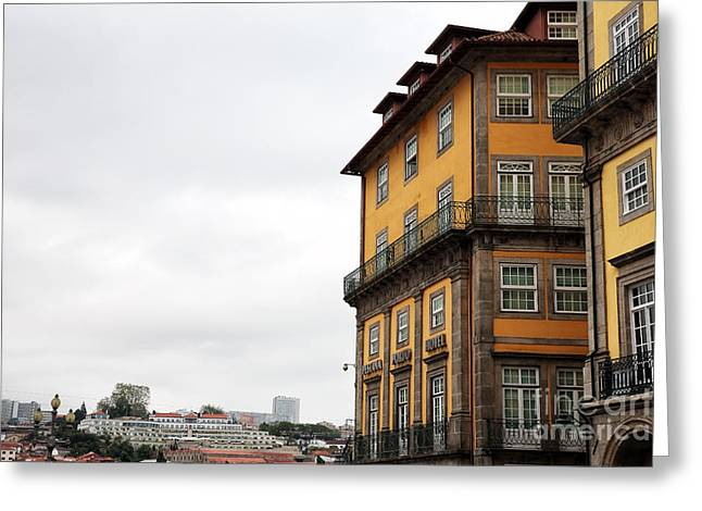 Hotel Window Greeting Cards - Old World Buildings in  Porto Greeting Card by John Rizzuto