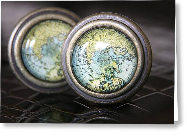World Map Print Photographs Greeting Cards - Old World charm Greeting Card by Lynn England