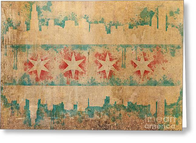 Map Mixed Media Greeting Cards - Old World Chicago Flag Greeting Card by Mike Maher