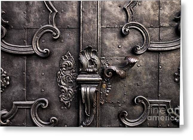 Salzburg Greeting Cards - Old World Door Greeting Card by John Rizzuto