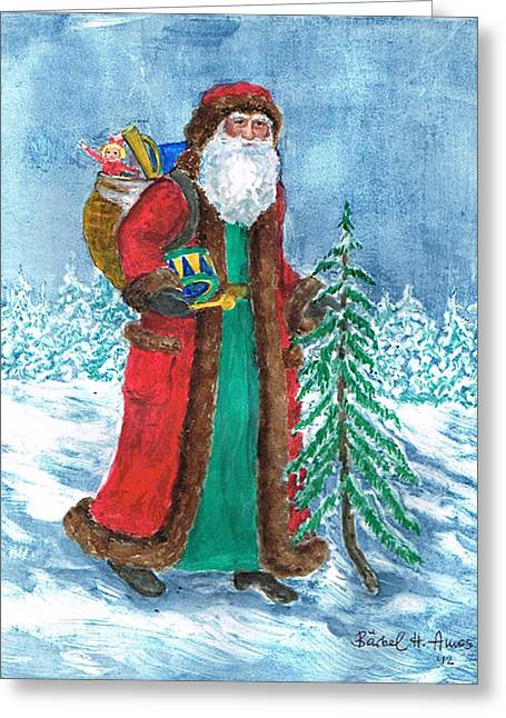 White Beard Greeting Cards - Old World Father Christmas4 Greeting Card by Barbel Amos