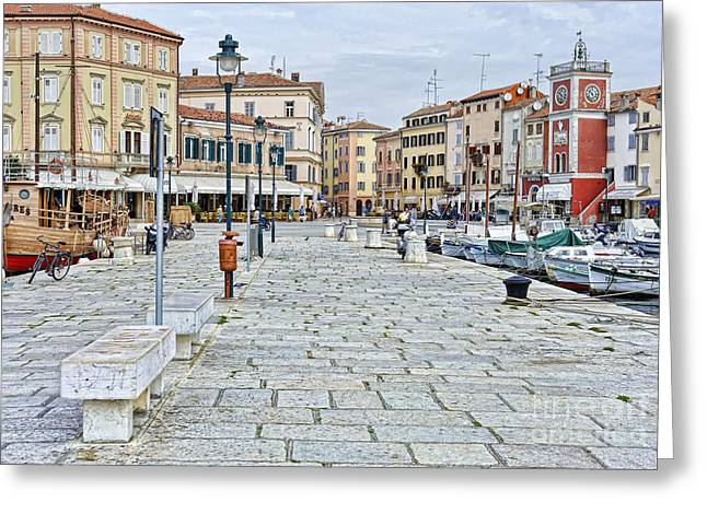 Croatia Greeting Cards - Old World Fishing Village Greeting Card by Sheldon Kralstein