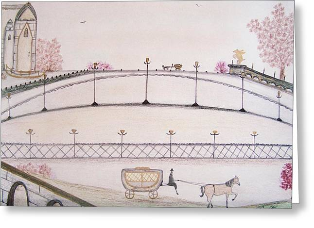 Gate Pastels Greeting Cards - Old World Landscape Greeting Card by Christine Corretti