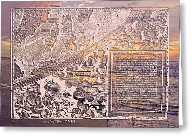 Old World Mixed Media Greeting Cards - Old World Map and Topsail Island Greeting Card by Betsy A  Cutler
