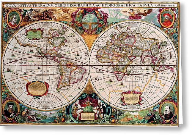Old World Map Greeting Card by Csongor Licskai