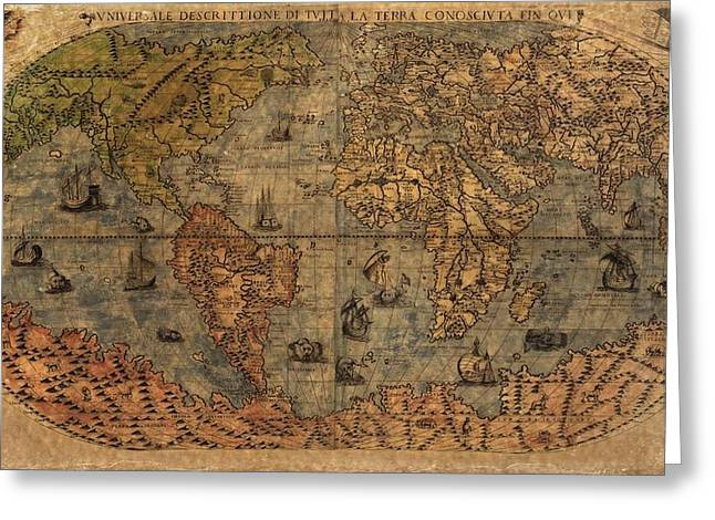 Old World Mixed Media Greeting Cards - Old World Map Greeting Card by Dan Sproul
