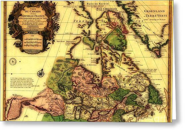 Decorate Greeting Cards - Old World Map of Canada Greeting Card by Inspired Nature Photography By Shelley Myke