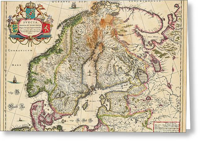 World Map Print Photographs Greeting Cards - Old World Map of Europe Greeting Card by Inspired Nature Photography By Shelley Myke
