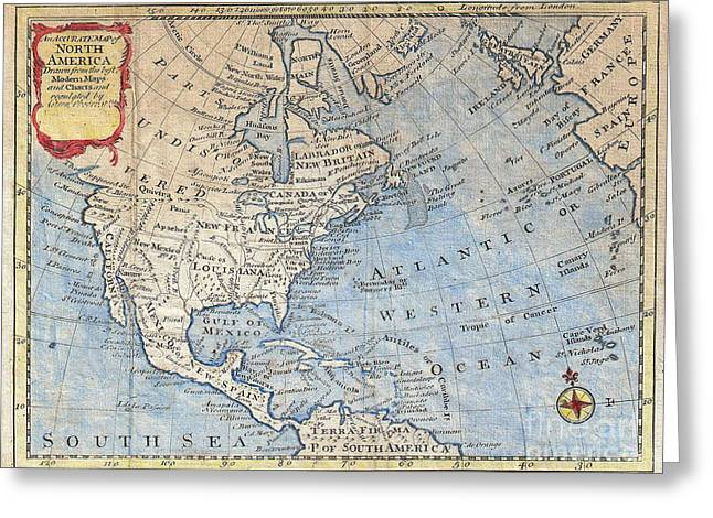 World Map Print Photographs Greeting Cards - Old World Map of North America Greeting Card by Inspired Nature Photography By Shelley Myke