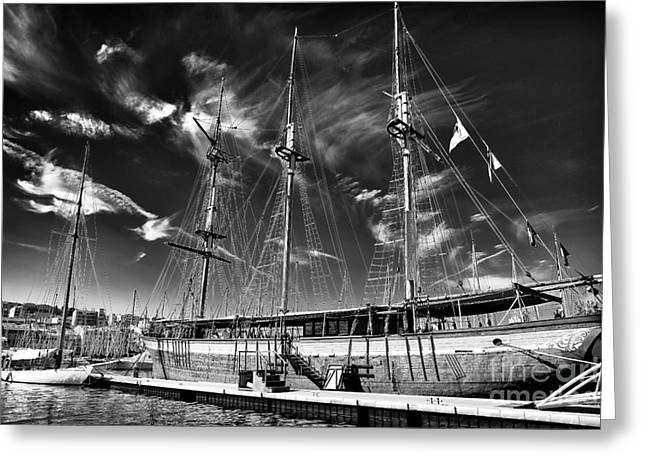 Old World Sailboat Greeting Card by John Rizzuto