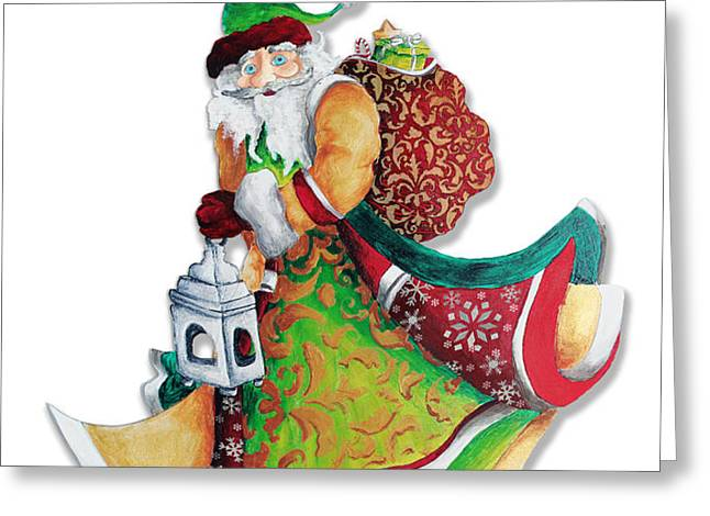 Old World Santa Christmas Art Original Painting by Megan Duncanson Greeting Card by Megan Duncanson
