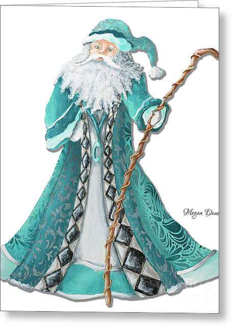 Licensor Greeting Cards - Old World Style Turquoise Aqua Teal Santa Claus Christmas Art by Megan Duncanson Greeting Card by Megan Duncanson