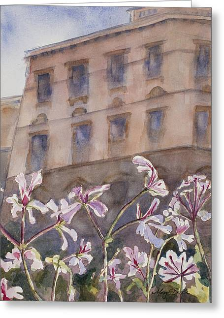 Prague Paintings Greeting Cards - Old World Windowbox Greeting Card by Mary Benke