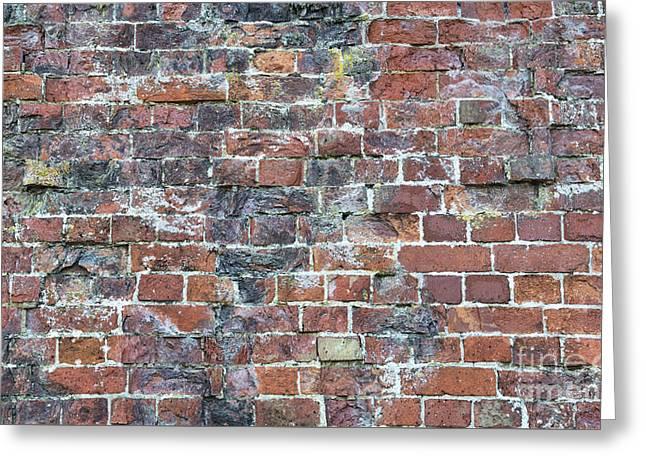 Old Worn Red Brickwork Pattern Greeting Card by Tim Gainey