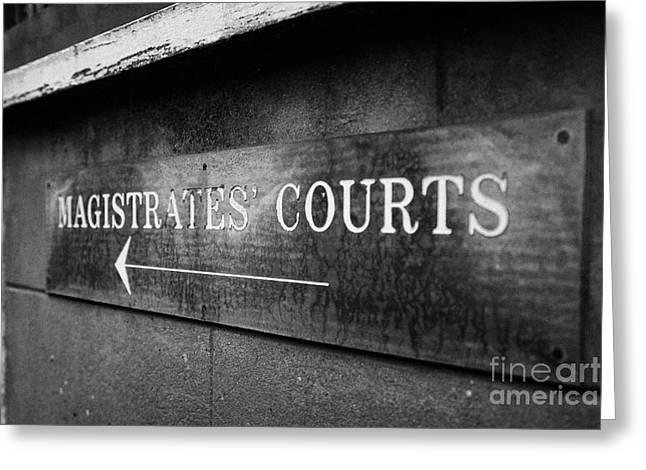 Magistrates Greeting Cards - Old Worn Sign For Magistrates Courts Ormskirk Lancashire England Uk Greeting Card by Joe Fox