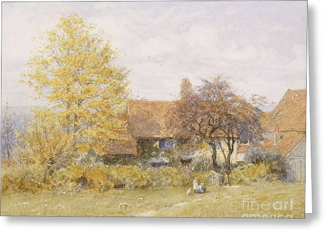 19th Century Architecture Greeting Cards - Old Wyldes Farm Greeting Card by Helen Allingham