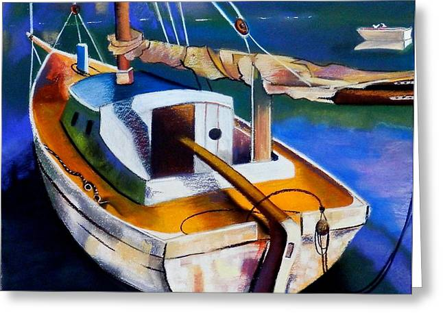 Masts Pastels Greeting Cards - Old Yacht Greeting Card by Susan Robinson