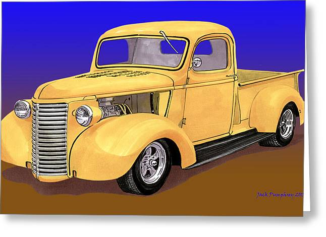 1937 Chevy Greeting Cards - Old Yeller Pickem Up Truck Greeting Card by Jack Pumphrey