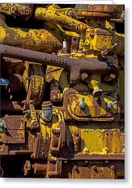 Peeling Greeting Cards - Old yellow motor Greeting Card by Garry Gay