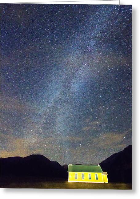 Constellation Greeting Cards - Old Yellow School House Milky Way Night Sky Greeting Card by James BO  Insogna