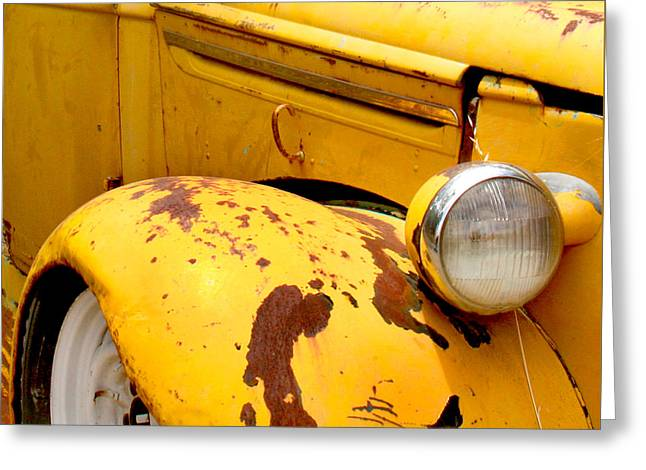 """square Art"" Photographs Greeting Cards - Old Yellow Truck Greeting Card by Art Block Collections"