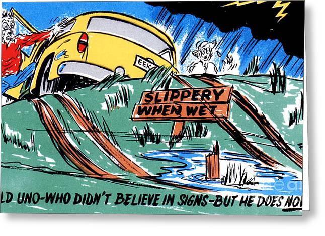 Road Trip Drawings Greeting Cards - Old You-know-who didnt believe in signs - but he does now Greeting Card by Eldon Frye