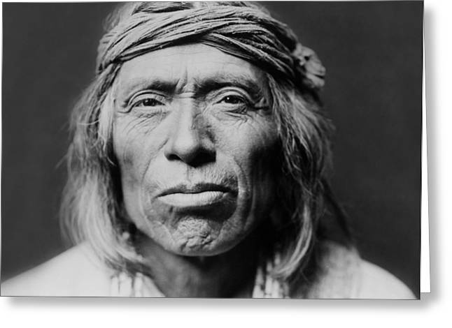 Curtis Greeting Cards - Old Zuni Man circa 1903 Greeting Card by Aged Pixel