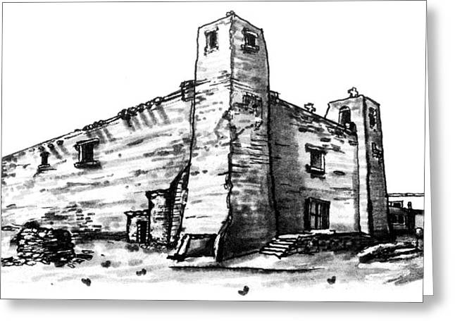 Adobe Drawings Greeting Cards - Old Zuni Mission Church Greeting Card by Del Gaizo
