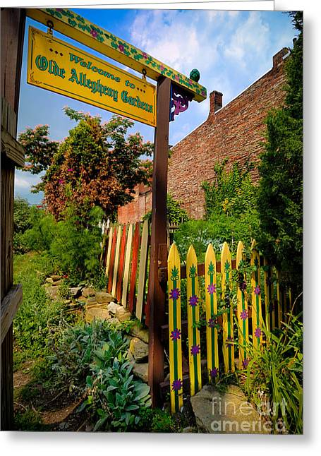 Wall Greeting Cards - Olde Allegheny Community Gardens Greeting Card by Amy Cicconi