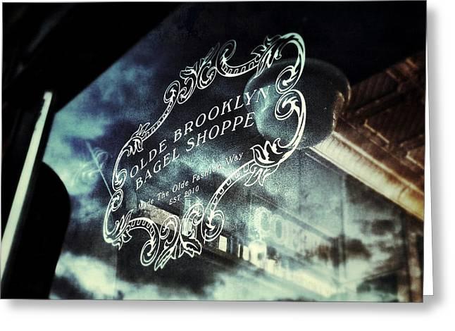 Olde Greeting Cards - Olde Brooklyn Bagel Shoppe Greeting Card by Natasha Marco