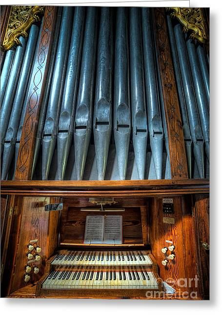 Book Greeting Cards - Olde Church Organ Greeting Card by Adrian Evans
