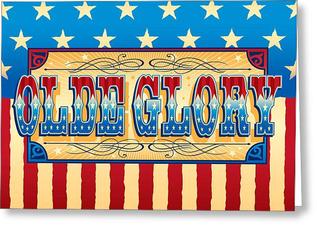 Swirls And Stripes Greeting Cards - Olde Glory Greeting Card by Barry Orkin
