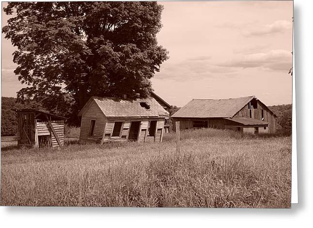 Summer Scene Drawings Greeting Cards - Olde Homestead - Sepia Greeting Card by James Preston