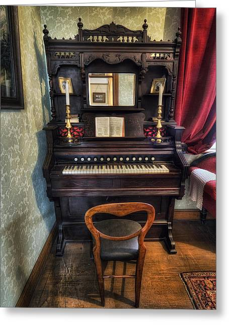 Olde Greeting Cards - Olde Piano Greeting Card by Ian Mitchell